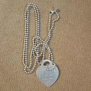 Tiffany & Co heart pendant and 34 inch chain